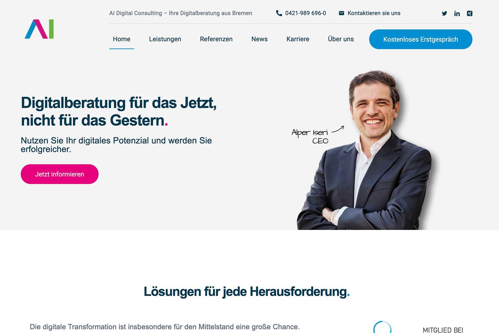 Die neue Homepage von AI Digital Consulting ist online