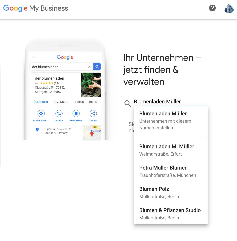 Google My Business Eintrag - Firmenwahl