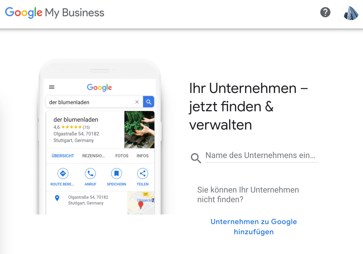 Google My Business Eintrag - Firmenwahl 2