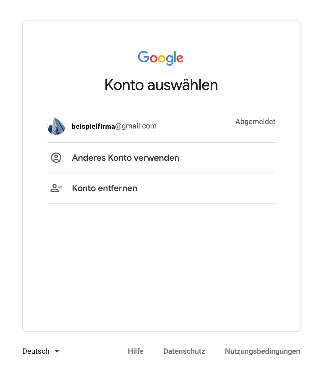 Google My Business Eintrag - Kontowahl