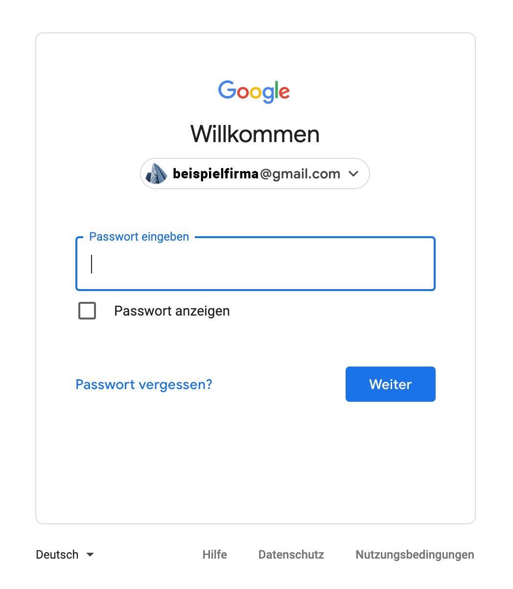 Google My Business Eintrag - Passworteingabe