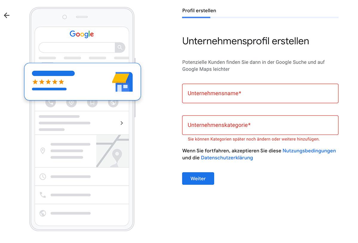 Google My Business Eintrag - Profil einrichten