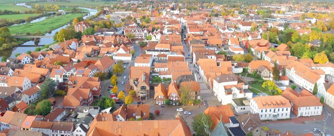 Digitalberatung für Verden - Luftaufnahme Stadtkern Verden